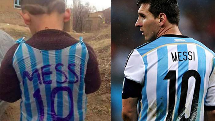 Messi ingin bertemu dengan seorang anak yang mengenakan jerseynya yang terbuat dari kantong plastik